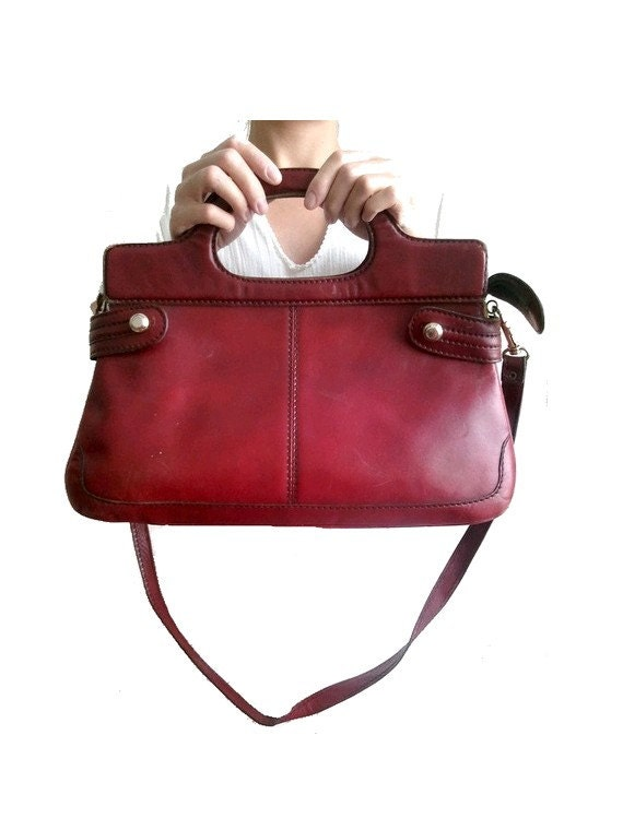 vintageITALIAN  leather bag burgundy