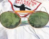 1940s Aviator Sunglasses, WWII Era Vintage Aviators with Bottle Green Lenses