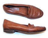 Vintage Brown Leather Italian Loafers / Famolare / Size 6