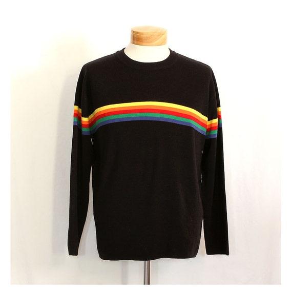 Vintage 80s Rainbow in the Dark Mens Sweater