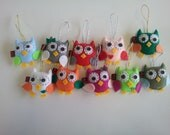 Eco Felt Baby Owl SET of 10 Party Favor Ornament Softie Plushie Made to Order