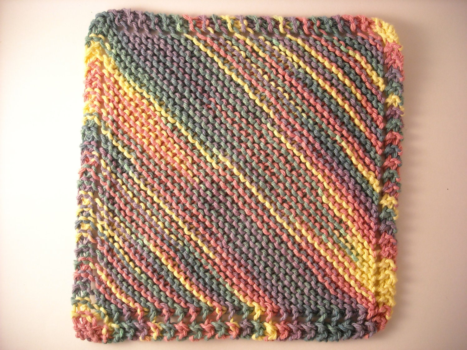 Knitted Dish Towel Pattern : Hand Knit Dish Cloth Mix-N-Match Cotton Large 9