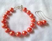 Dark Peach Bracelet & Earring Set