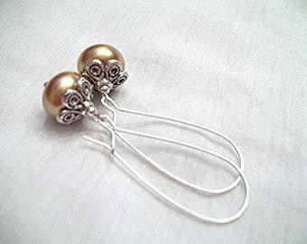 Golden Kidney Wire Earrings