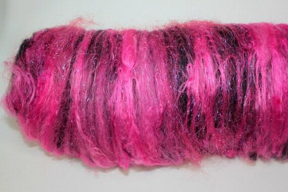Spinning Fiber Art Batt - Glam Rock - Merino, Silk, Wensleydale, Polwarth, BFL, Firestar, Angelina - 2.82 oz