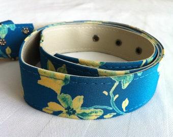 Blue Flowered Fabric Vintage Belt size 12