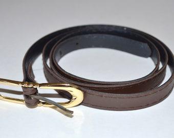 Women's Brown Belt, Thin Brown Ladies' Vintage Belt, Skinny Belt, Gold Buckle