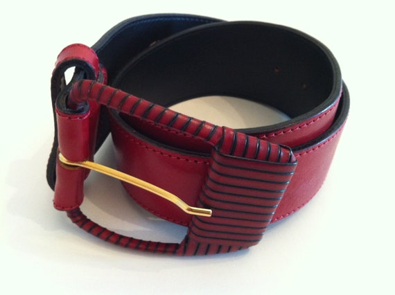 Pellateri Red Leather Vintage Womens Belt size S