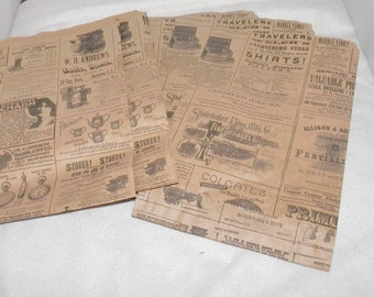 100 6x9 Newspaper print Paper Bags,  Vintage style Newsprint Kraft Favor Bags