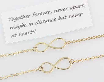 Gold  infinity Necklace,  Infinity necklace set Mother Daughter, Friendship sign necklace, infinity Love mother & daughters Jewelry