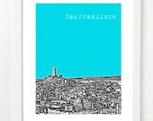 San Francisco Poster - San Francisco Skyline Art Print - Coit Tower - Telegraph Hill - VERSION 3