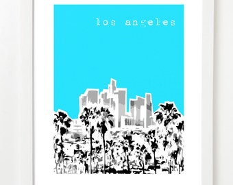 Los angeles skyline wall vinyl decal for T shirt printing downtown los angeles