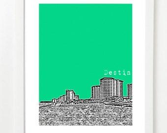 Destin, Florida Skyline Poster - Destin City Skyline Series Art Print - Florida Love -