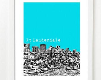 Ft Lauderdale Poster - City Skyline Art Print - Florida Love - Fort Lauderdale - 8x10 image
