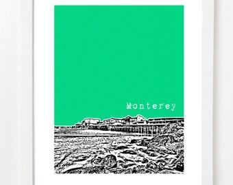 Monterey, California Art Print - Monterey City Skyline Series Poster - Monterey CA Gifts
