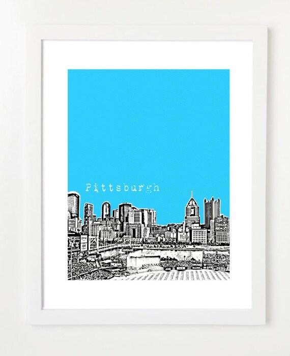Pittsburgh Skyline Art Print - Pittsburgh Pennsylvania State City Poster - VERSION 1
