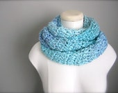 Crochet Ombre Baby Blue, Grey,Teal, Turquoise, Lavender Handmade Infinity Scarf, Women's Scarf, Men's Scarf, Unisex Scarf