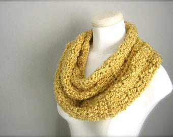 Crochet Spring Yellow Handmade Infinity Scarf, Women's Scarf, Men's Scarf, Unisex Scarf