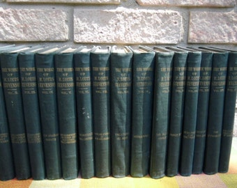 Antique Book Set - Robert Louis Stevenson, 15 Volumes, Teal Published by Peter Fenelon Collier NY
