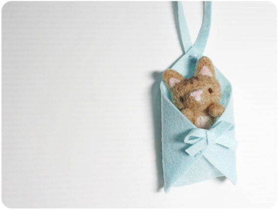 Naughty Cat - needle felted wool