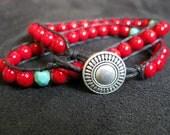 Red Double Wrap Beaded Bracelet Chan Luu Style