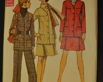 Misses' Jacket, Skirt, Pants and Scarf 1960s Size 18 Bust 40 Vintage Sewing Pattern-Simplicity 8401
