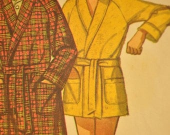 Men's Robe in Two Lengths Size Medium Vintage 1970s Sewing Pattern-Simplicity 9637