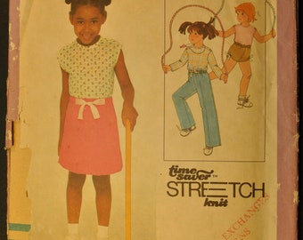 Child's Pullover Top, Skirt, Pants, or Shorts Size 3, 4, 5 Uncut Vintage 1970s Sewing Pattern-Simplicity 8500