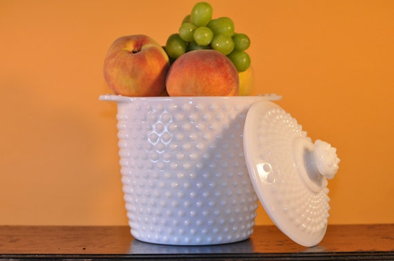 Vintage White Milk Glass Hobnail Cookie Jar or Ice Bucket with Lid-Wonderful for Wedding, Christmas, or Birthday Gift