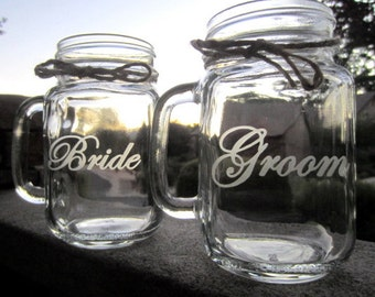 Mason Jar Wedding, Bride Groom. Mugs, Mason Jar Mugs,