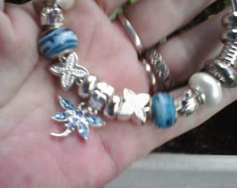 Silver blue in flight, Euro style bracelet
