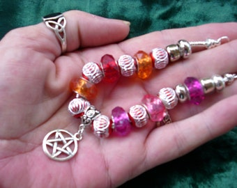 Pagan Wiccan, colors of Fire with Pentagram charm, Euro style bracelet