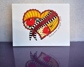 Ribbon Heart Gretting Card (set of 6)