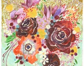 """maroon & mint flowers print 11""""x14"""""""