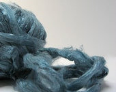 1 oz (28g) Mulberry Silk Fiber Roving STEEL BLUE