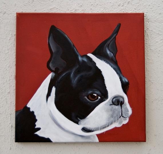 Boston Terrier Portrait/Acrylic on canvas