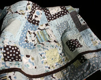 Modern Florals Patchwork Lap Quilt in Soft Blues and Rich Chocolate