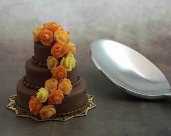 1/12 scale handmade dollhouse miniature Fall Chocolate Wedding Cake.