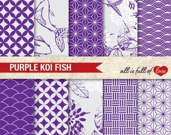 PURPLE Collage Sheet JAPAN Scrapbooking Clipart Background PATTERNS Digital Chinese New Year Paper Koi Fish