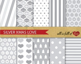 SILVER XMAS Digital Paper Pack CHRISTMAS Scrapbook Grey wrapping paper Christmas Background christmas wrapping printable papers