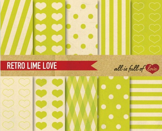 Valentines Graphics Green Paper DIGITAL Scrapbooking Patterns Lime Printable background Love Valentines Paper Valentines Patterns diy 12/15