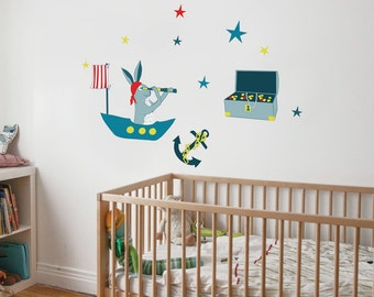 Frankie the Pirate Hare - kid wall decal