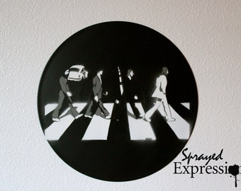 The Beatles on Abbey Road Vinyl Record Painting