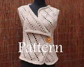 Knitting PATTERN - womens Asymmetric knitted sleeveless jacket/wrap - Listing34