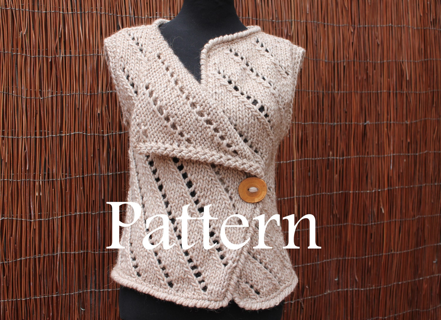 Knitting pattern womens asymmetric knitted sleeveless jacket this is a digital file bankloansurffo Gallery