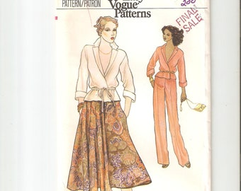Vintage UNCUT Vogue Sewing Pattern for Skirt, Pants and Top, Sz 14, 1980s