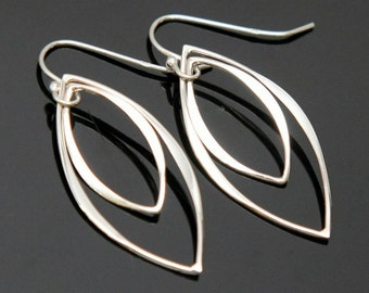 Sterling Silver Marquise Earrings, Double Marquise Earrings, Simple Silver Earrings.