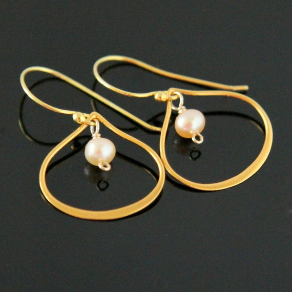 Gold LOTUS Pearl Earrings,  Lotus Petal Earrings, Gold Pearl Earrings, Gold Filled and Vermeil.