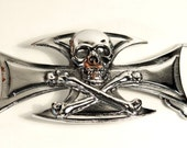 Silver plated Skull and Cross Buckle