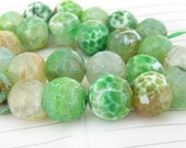 "Big Round Faceted Full Strand Dragon Green Agate Beads ----- 14mm ----- about 28Pieces ----- gemstone beads--- 15"" in length"